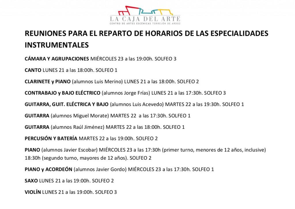 Reunión reparto horarios 2015-2016